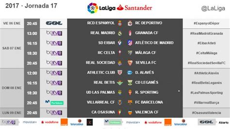 Horarios de la jornada 17 de la Liga Santander