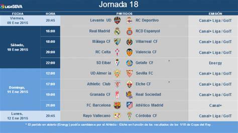 Horarios de la jornada 18 de la Liga BBVA | Liga de Fútbol ...