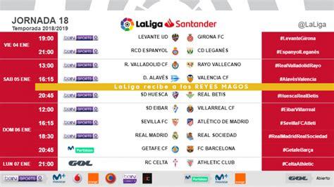Horarios de la jornada 18 de LaLiga Santander 2018/19 ...