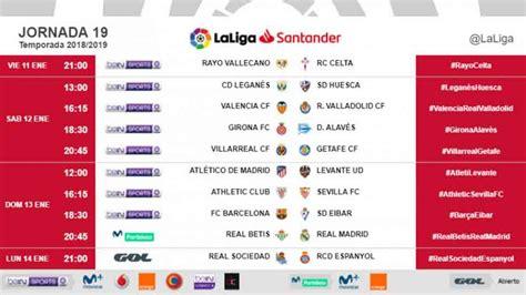 Horarios de la jornada 19 de la Liga Santander 2018 / 2019