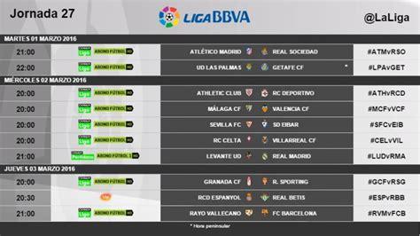 Horarios de la jornada 27 de la Liga BBVA | Liga de Fútbol ...