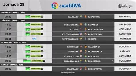 Horarios de la jornada 28 y 29 de la Liga BBVA