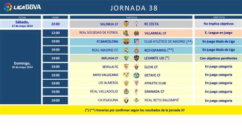 Horarios de la jornada 38 de la Liga BBVA | LaLiga