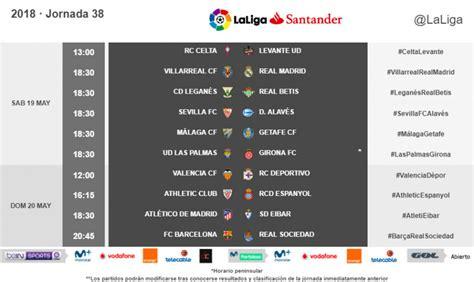 Horarios de la jornada 38 de LaLiga Santander 2017/18 ...
