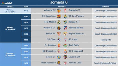 Horarios de la jornada 6 de la Liga BBVA | Liga de Fútbol ...