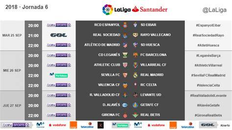Horarios de la jornada 6 de LaLiga Santander 2018/19 ...