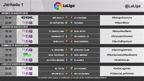 Horarios de la primera jornada de LaLiga 2016 17