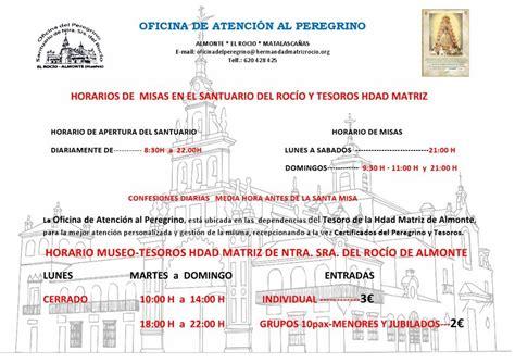 Horarios de Misas en el Santuario del Rocío para julio y ...