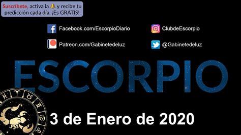 Horóscopo Diario   Escorpio   3 de Enero de 2020   YouTube