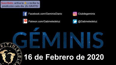 Horóscopo Diario   Géminis   16 de Febrero de 2020   YouTube