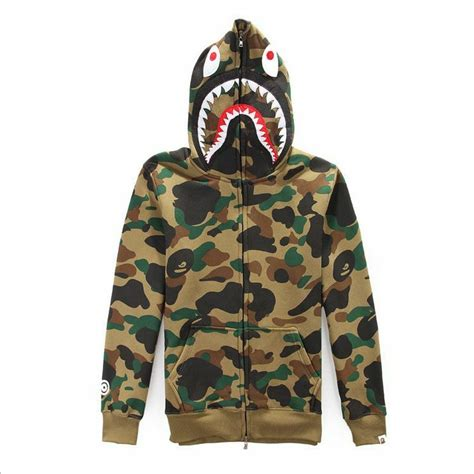 hot Unisex Hoodie Coat Zipper Shark Jaw Sweater Ape Bape ...