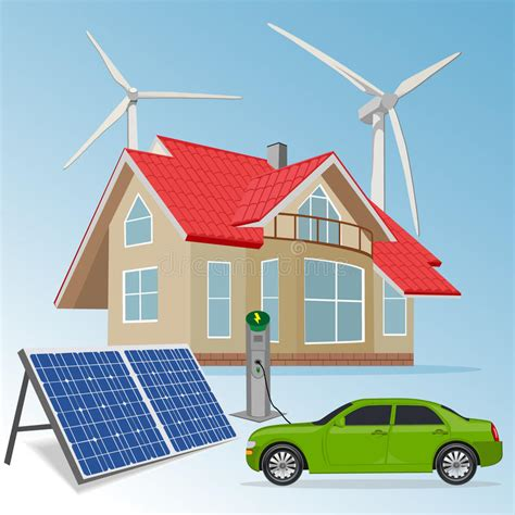 House With Renewable Energy Sources, Vector Illustration ...