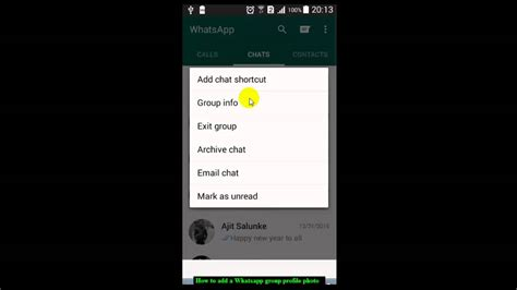 How to add a Whatsapp group profile photo   YouTube