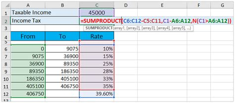 How to calculate income tax in Excel?