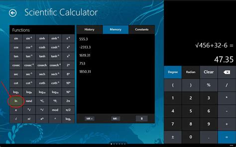 How to calculate natural logarithm in the Windows 10 ...