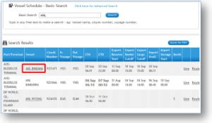 How to conduct a basic search of vessel schedules   1 Stop ...