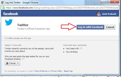 How to connect Twitter with Facebook Account Step by step