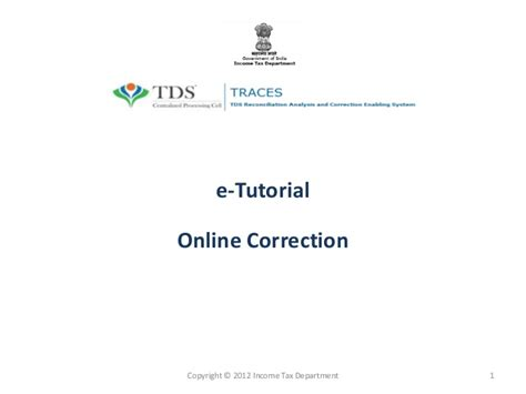 How to Correct your etds return online on tdscpc.gov.in ...
