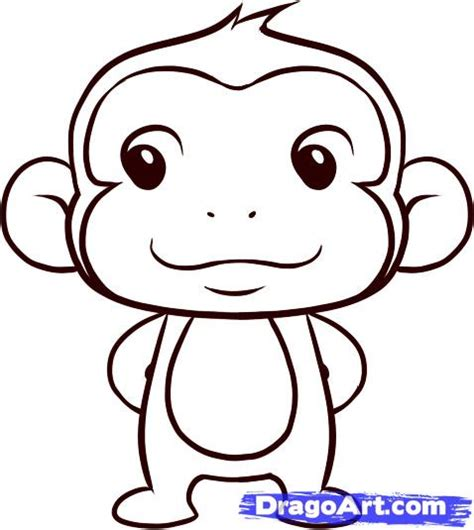 How to Draw a Simple Monkey, Step by Step, forest animals ...