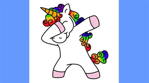 How to draw a Unicorn Dabbing for kids easy and cute   YouTube