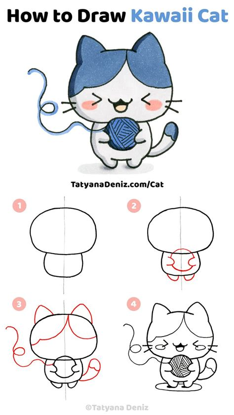 How to draw kawaii cat  step by step drawing tutorial ...