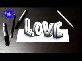 How to draw love 3D   Como dibujar amor 3D   San Valentin ...