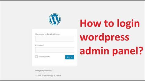 How to login wordpress admin panel II WORDPRESS BLOG SITE ...
