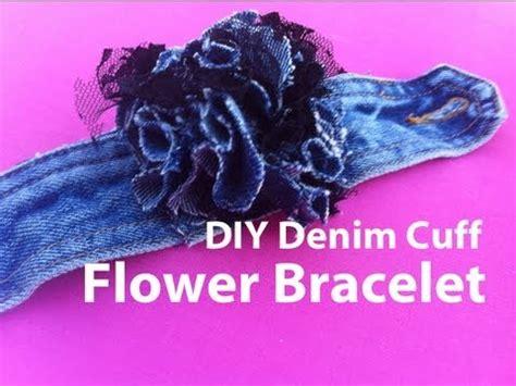 How to make a denim cuff flower bracelet   Nik Scott   YouTube