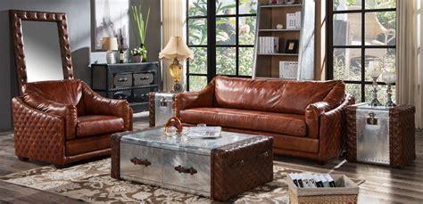 Hudson Vintage Retro Distressed Leather Settee Sofa Suite ...