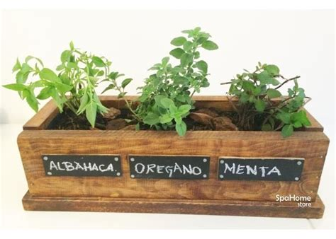 Huerto de madera con 3 hierbas o especias. Cultiva tus ...