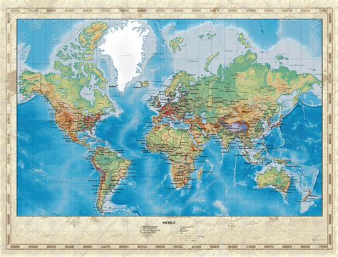 Huge Hi Res Mercator Projection Physical And Political ...