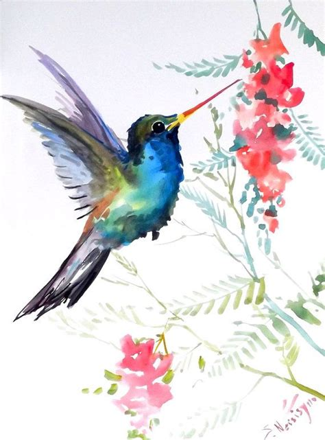 Hummingbird, original watercolor painting, 12 X 9 in, blue ...