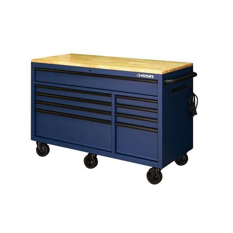 Husky 56 in. 9 Drawer Mobile Workbench in Matte Blue ...