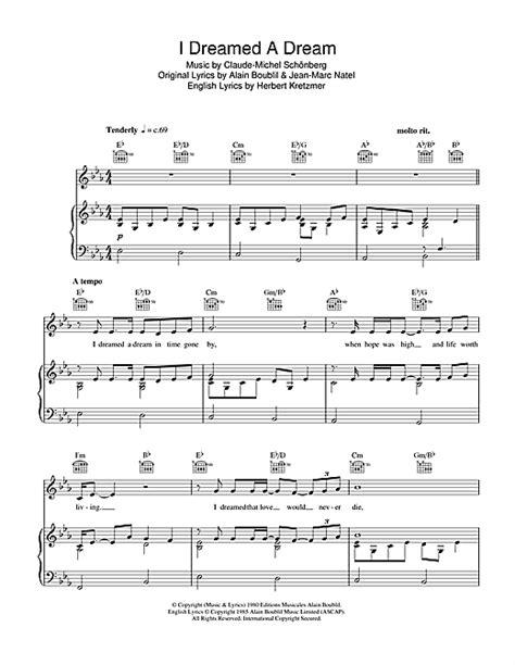 I Dreamed A Dream sheet music by Susan Boyle  Piano, Vocal ...