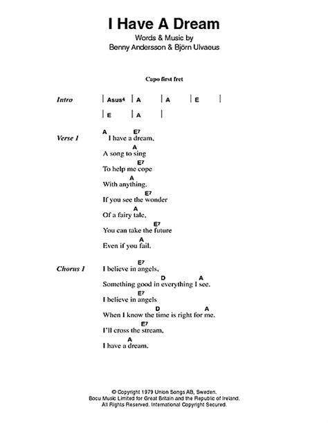 I Have A Dream sheet music by ABBA  Lyrics & Chords – 46697