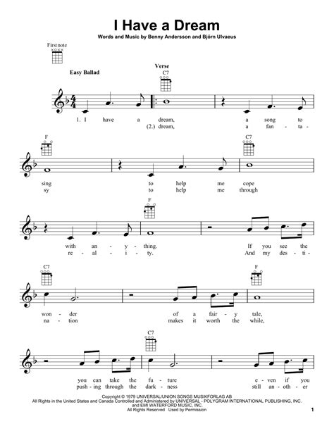 I Have A Dream   Sheet Music Direct