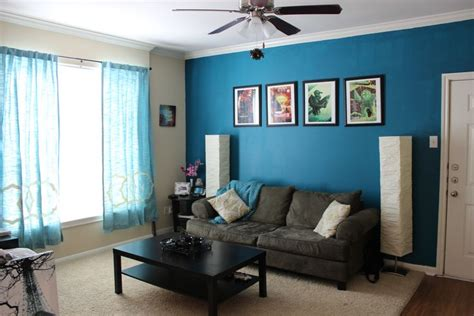 I like this blue color, maybe the TV and couch wall? Too ...