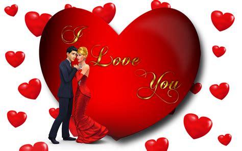 I Love You Loving Couple Red Heart Desktop Hd Wallpaper ...
