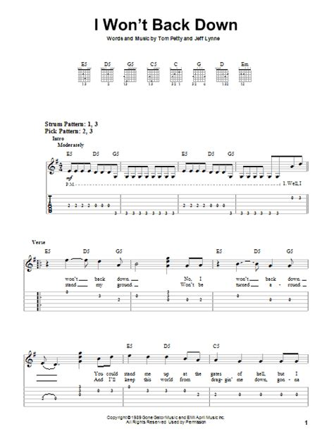 I Won t Back Down sheet music by Tom Petty  Easy Guitar ...