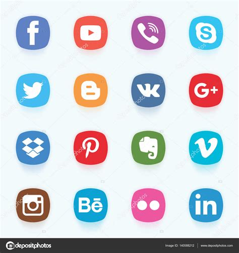 ícones de redes sociais — Vetores de Stock  wasiliyg ...