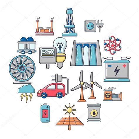 Icônes de sources d'énergie définie, le style de dessin ...