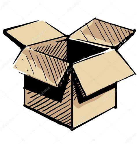 Icono de caja abierta aislado sobre fondo blanco. Dibujo a ...