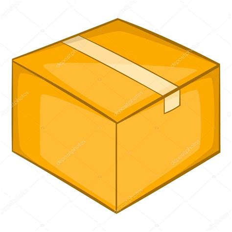 Icono de caja de cartón, estilo de dibujos animados ...