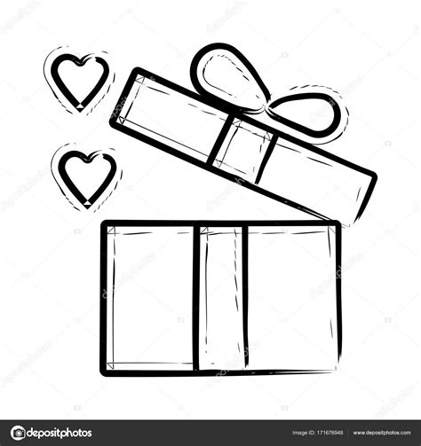Icono de vector dibujado a mano caja de regalo ...