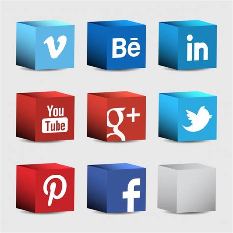 Iconos 3d para redes sociales   Descargar Vectores gratis