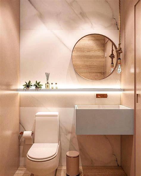 Ideia de Lavabo Pequeno Luxo com Espelho e Revestimento ...