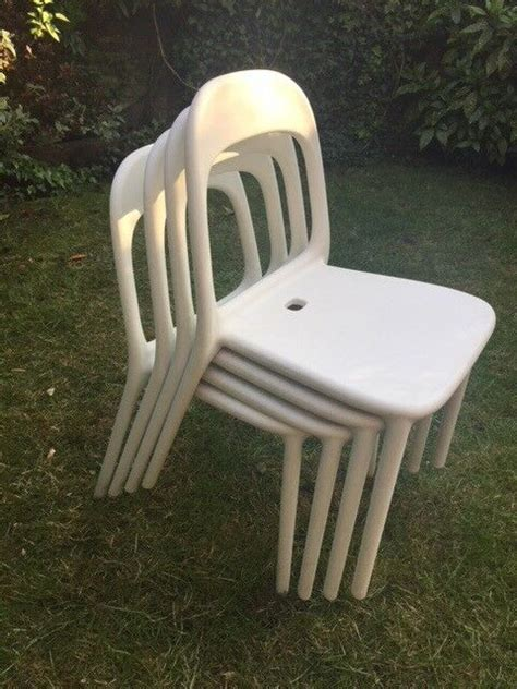 IKEA 4 White Plastic Garden Chairs  great for kitchen too ...