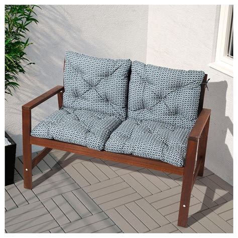IKEA APPLARO Brown Stained Brown Bench with backrest ...