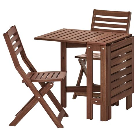 IKEA APPLARO Brown Stained Table and 2 folding chairs ...