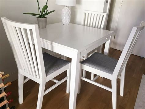 IKEA EKEDALEN Extendable White Table + 3 Dining Chairs ...